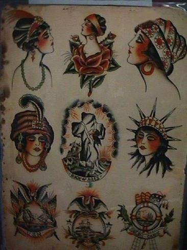 Thomas Lockhart S Tattoo Museum Flash Gallery Exhibit Vintage